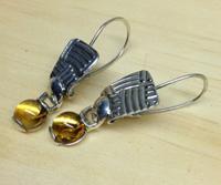 Citrine Cabochon in Custom Sterling Silver Setting Earrings