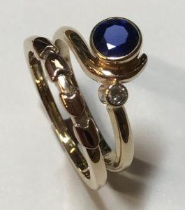 Fancy Gold Gemstone Wedding Set
