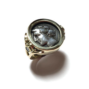 14k Gold Ring with 300BC Coin and Tubeset Diamond