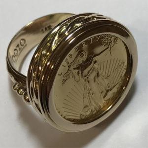 14k Gold Liberty Coin Ring