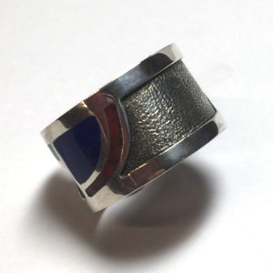 Red and Blue Enameled, Custom Cutout Sterling Silver Ring
