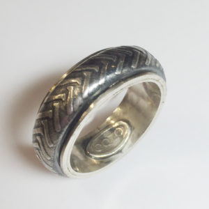 Motorcycle Tire Tread Ring, Sterling Silver