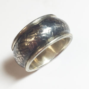 """""""No Skid"""" Motorcycle Tread Ring, Sterling Silver"""