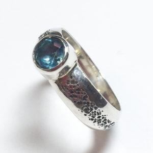 London Blue Topaz Faceted Stone, Hammered Textured Sterling Silver Ring
