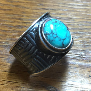 Turquoise, Pattern-rolled Sterling Silver Ring