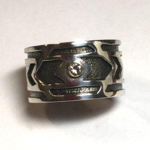 Sterling Silver, Custom Cutout, Tube-set Diamond Ring