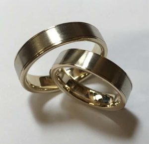 Brushed White Gold and 14k Wedding Rings