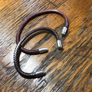 Copper Twist Bracelets with Silver End Caps