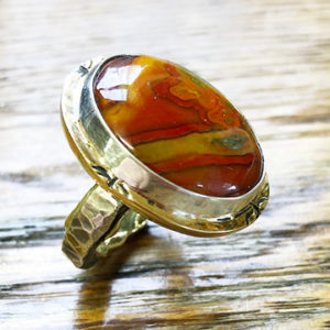 Orange Agate Silver and 14k Gold Ring