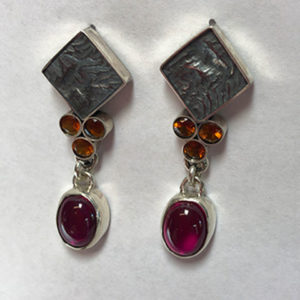 Ruby Fire Citrine and Silver Earrings