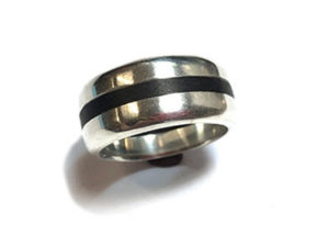 Sterling Silver Band with Onyx Wood Inlay