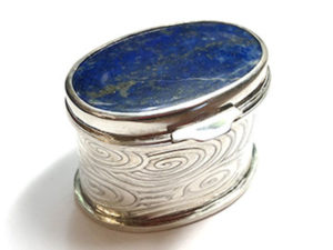 Sterling Silver Box with Lapis Stone