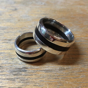 Sterling Ebony Wedding Rings