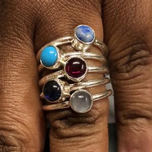 Custom Sterling Tube-set Gemstone Rings