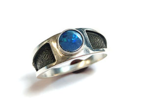 Sterling Silver Ring with Boulder Opal
