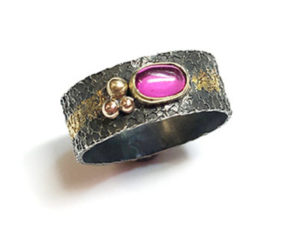 Sterling Silver Ring with Gold Accents and Ruby