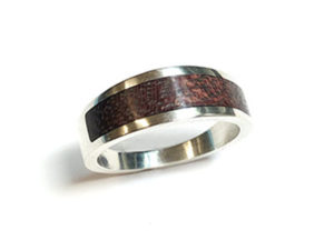 Sterling Silver Ring with Purple Heart Wood Inlay