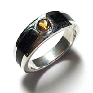 Sterling Silver and Ebony Ring with Citrine Gemstone