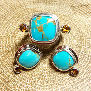 Turquoise and Fire Citrine Ring and Earring Set