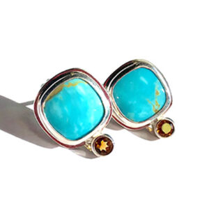 Turquoise and Fire Citrine Earrings