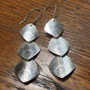 Sun Burst Patterned - Sterling Earrings