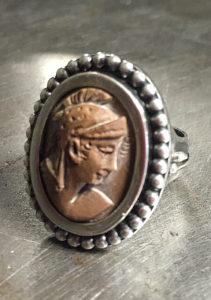 Casted Portrait in Sterling Silver, Ring
