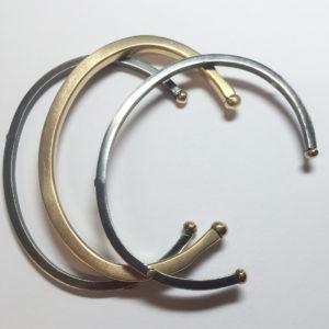 3 Bracelet Set, Sterling Silver & 22k Gold