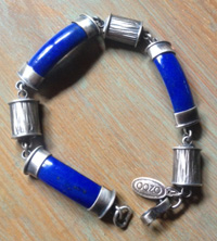 Silver and Blue Enamel Bracelet