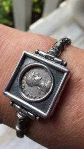 Publius Septimius Geta Coin in Bracelet, Sterling Silver
