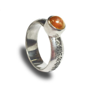 Sterling Silver Hammered Citrine Cabochon Ring