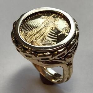 Custom 1/10 Gold Coin Ring