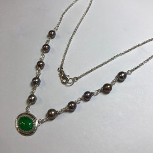 Custom Silver, Pearl and Jade Necklace