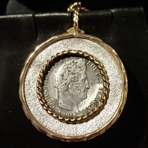Custom Sterling and Gold Pendant for Coin