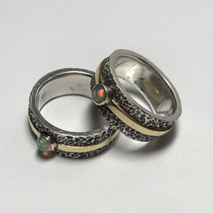 Custom Opal Wedding Bands with Gold Inlay