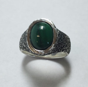 Malachite Stone Hammered Ring